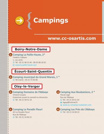 Les campings sur le territoire